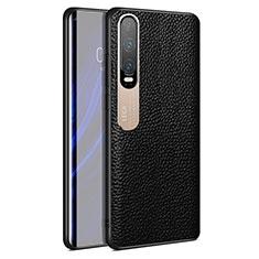 Coque Luxe Cuir Housse Etui S03 pour Huawei P30 Noir
