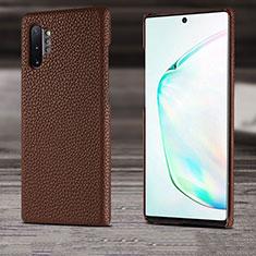 Coque Luxe Cuir Housse Etui S03 pour Samsung Galaxy Note 10 Plus 5G Marron