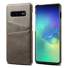 Coque Luxe Cuir Housse Etui S03 pour Samsung Galaxy S10 Gris