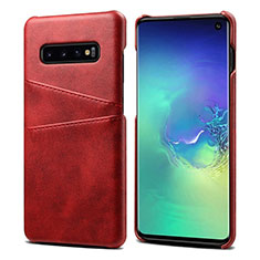 Coque Luxe Cuir Housse Etui S03 pour Samsung Galaxy S10 Rouge