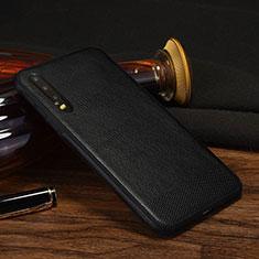 Coque Luxe Cuir Housse Etui S04 pour Huawei P30 Noir