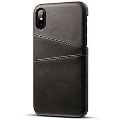 Coque Luxe Cuir Housse Etui S06 pour Apple iPhone X Noir