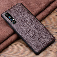 Coque Luxe Cuir Housse Etui S06 pour Oppo Find X2 Neo Marron