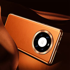 Coque Luxe Cuir Housse Etui S08 pour Huawei Mate 40 Pro+ Plus Orange
