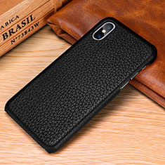Coque Luxe Cuir Housse Etui S10 pour Apple iPhone Xs Noir