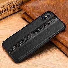 Coque Luxe Cuir Housse Etui S11 pour Apple iPhone X Noir