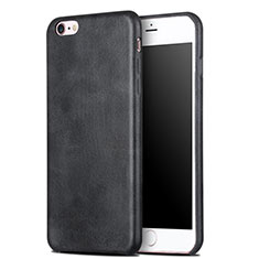 Coque Luxe Cuir Housse L01 pour Apple iPhone 6S Noir