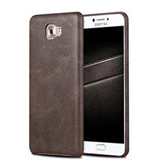 Coque Luxe Cuir Housse L01 pour Samsung Galaxy C7 Pro C7010 Marron