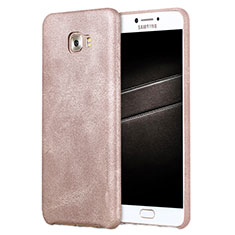 Coque Luxe Cuir Housse L01 pour Samsung Galaxy C7 Pro C7010 Or Rose