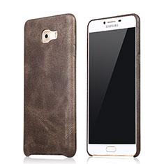 Coque Luxe Cuir Housse L01 pour Samsung Galaxy C9 Pro C9000 Marron