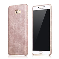 Coque Luxe Cuir Housse L01 pour Samsung Galaxy C9 Pro C9000 Or Rose