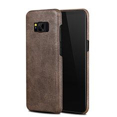 Coque Luxe Cuir Housse L02 pour Samsung Galaxy S8 Marron