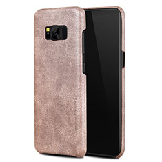 Coque Luxe Cuir Housse L02 pour Samsung Galaxy S8 Or Rose