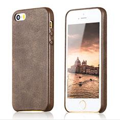 Coque Luxe Cuir Housse pour Apple iPhone 5S Marron