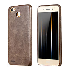 Coque Luxe Cuir Housse pour Huawei Enjoy 5S Marron