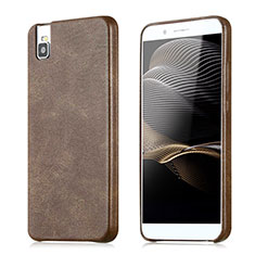 Coque Luxe Cuir Housse pour Huawei Honor 7i shot X Marron