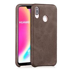 Coque Luxe Cuir Housse pour Huawei Nova 3e Marron