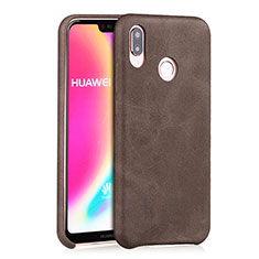 Coque Luxe Cuir Housse pour Huawei P20 Lite Marron