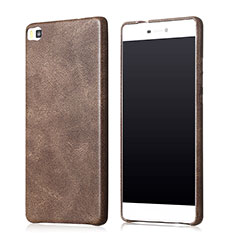 Coque Luxe Cuir Housse pour Huawei P8 Marron