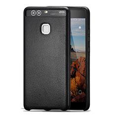 Coque Luxe Cuir Housse pour Huawei P9 Noir