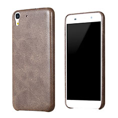 Coque Luxe Cuir Housse pour Huawei Y6 Marron