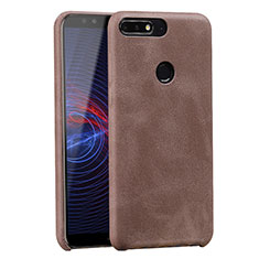 Coque Luxe Cuir Housse pour Huawei Y7 (2018) Marron