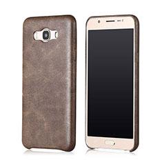 Coque Luxe Cuir Housse pour Samsung Galaxy J7 (2016) J710F J710FN Marron
