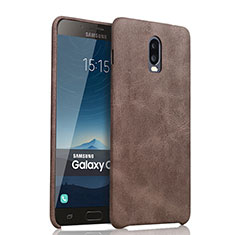 Coque Luxe Cuir Housse pour Samsung Galaxy J7 Plus Marron