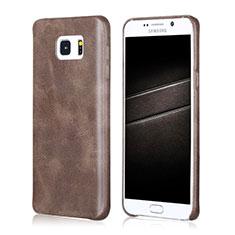 Coque Luxe Cuir Housse pour Samsung Galaxy Note 5 N9200 N920 N920F Marron