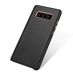 Coque Luxe Cuir Housse pour Samsung Galaxy Note 8 Duos N950F Noir