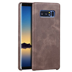 Coque Luxe Cuir Housse pour Samsung Galaxy Note 8 Marron