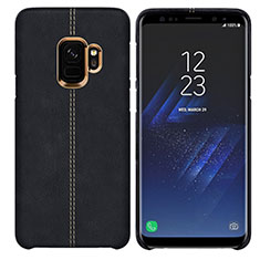 Coque Luxe Cuir Housse pour Samsung Galaxy S9 Noir