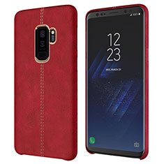 Coque Luxe Cuir Housse pour Samsung Galaxy S9 Plus Rouge