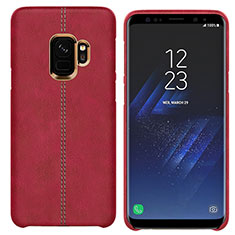Coque Luxe Cuir Housse pour Samsung Galaxy S9 Rouge