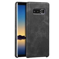 Coque Luxe Cuir Housse R01 pour Samsung Galaxy Note 8 Duos N950F Noir