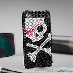 Coque Luxe Strass Diamant Bling Crane pour Apple iPhone 4 Noir