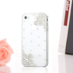 Coque Luxe Strass Diamant Bling Fleurs pour Apple iPhone 4S Blanc