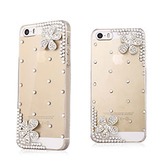 Coque Luxe Strass Diamant Bling Fleurs pour Apple iPhone 5 Blanc