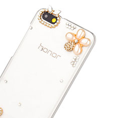 Coque Luxe Strass Diamant Bling Fleurs pour Huawei Honor 4X Blanc