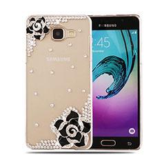 Coque Luxe Strass Diamant Bling Fleurs pour Samsung Galaxy A5 (2016) SM-A510F Noir