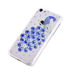 Coque Luxe Strass Diamant Bling Paon pour Apple iPhone 5C Bleu