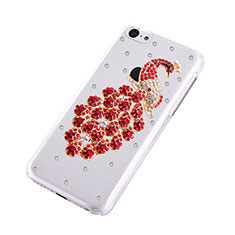 Coque Luxe Strass Diamant Bling Paon pour Apple iPhone 5C Rouge