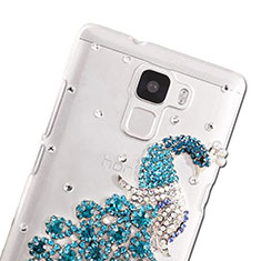 Coque Luxe Strass Diamant Bling Paon pour Huawei Honor 7 Bleu Ciel