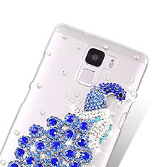 Coque Luxe Strass Diamant Bling Paon pour Huawei Honor 7 Dual SIM Bleu