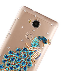 Coque Luxe Strass Diamant Bling Paon pour Huawei Honor X5 Bleu