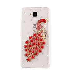 Coque Luxe Strass Diamant Bling Paon pour Huawei Y6 Pro Rouge