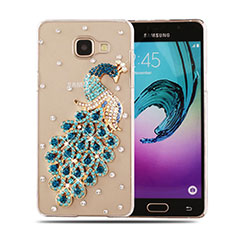 Coque Luxe Strass Diamant Bling Paon pour Samsung Galaxy A5 (2016) SM-A510F Bleu Ciel