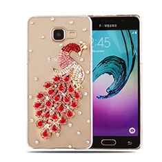 Coque Luxe Strass Diamant Bling Paon pour Samsung Galaxy A5 (2016) SM-A510F Rouge