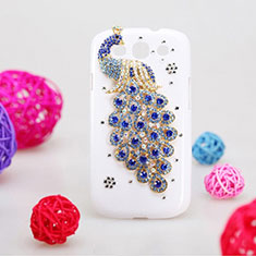 Coque Luxe Strass Diamant Bling Paon pour Samsung Galaxy S3 III LTE 4G Bleu