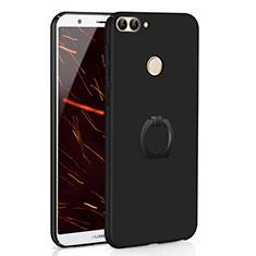 Coque Plastique Housse Etui Rigide Mat avec Support Bague Anneau A01 pour Huawei Enjoy 7S Noir